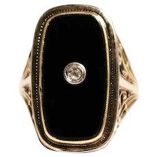 Art Deco 14k Yellow Gold Onyx and Diamond Ring