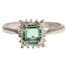 Mid Century 14k White Gold Emerald and Diamond Ring