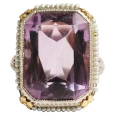 Art Deco 14k White Gold Amethyst and Seed Pearl Ring