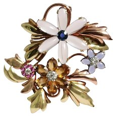 Retro 14k Yellow And Rose Gold Moonstone, Sapphire, Citrine, Ruby, And Diamond Brooch