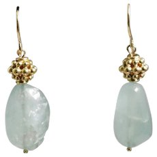 14k Yellow Gold Aquamarine Drop Earrings