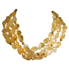 Silver and Gold Citrine Bead Necklace