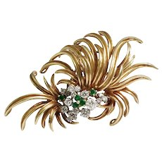 1970s 18k Yellow Gold Emerald and Diamond Brooch
