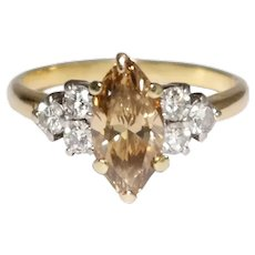 18k Yellow Gold Champagne Diamond Engagement Ring