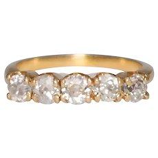 14k Yellow Gold 5 Stone Diamond Band