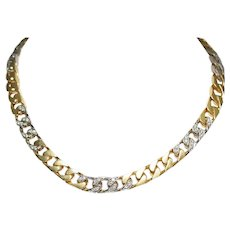 18k Yellow and White Gold Diamond Curb Link Necklace