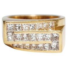 18k Yellow Gold Triple Row Diamond Ring