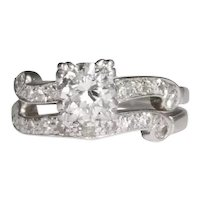 Platinum Retro Diamond Engagement Ring Set