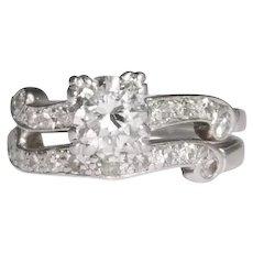 Platinum Retro Diamond Engagement Ring Set