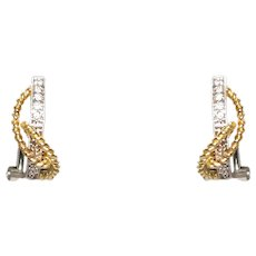18k White And Yellow Gold Twist Diamond Earrings