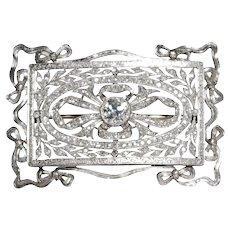 Art Deco Platinum Diamond Rectangular Brooch