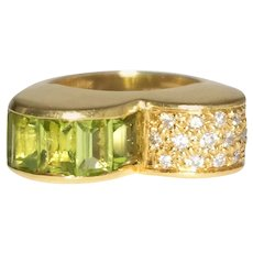 18k Yellow Gold Peridot And Diamond Double Dome Ring