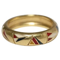 Hidalgo 18k Yellow Gold Enamel Flag Band