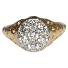 Antique Style 18k Yellow Gold Diamond Ring
