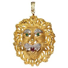 18k Yellow Gold Diamond, Emerald, And Ruby Lion Pin/Pendant