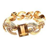 14k Yellow Gold Citrine Diamond Bracelet