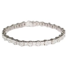 14k White Gold Straight-line Diamond Bracelet