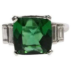 Mid-Century 14k White Gold Tourmaline And Diamond Ring