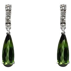 14k White Gold Tourmaline And Diamond Drop Style Earrings