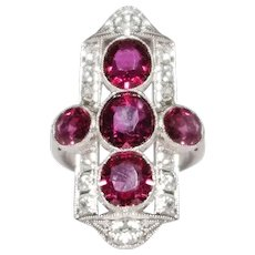 Art Deco Platinum Ruby And Diamond Ring