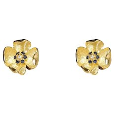 Cartier 18k Yellow Gold Sapphire and Diamond Earrings