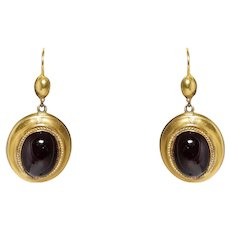 Victorian 14k Yellow Gold Garnet Earrings