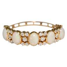 Mid-Century 18k Yellow Gold Opal And Diamond Bangle Bracelet