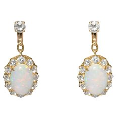 Mid-Century 18k Yellow Gold Opal And Diamond Drop Earrings