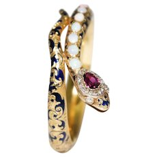 Antique 18k Yellow Gold Enamel, Opal, Garnet, And Diamond Snake Bracelet