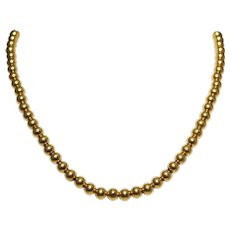 Antique 14k Yellow Gold Bead Necklace
