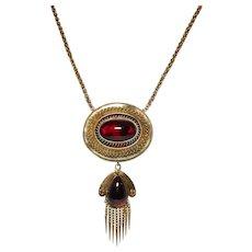 Victorian 14k Yellow Gold Garnet Pendant Necklace