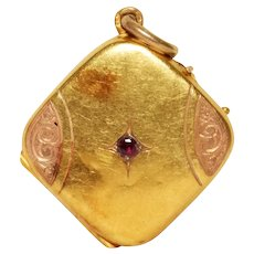 Antique 14k Yellow And Rose Gold Ruby Locket