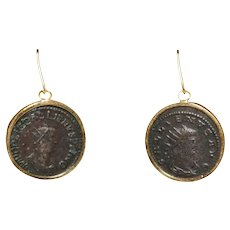 14k Yellow Gold Antique Coin Earrings