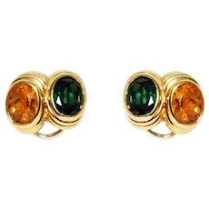 18k Yellow Gold Green Tourmaline And Citrine Earrings