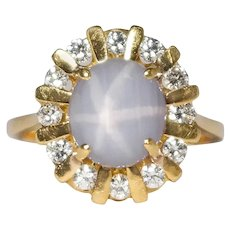 18k Yellow Gold Star Sapphire And Diamond Ring