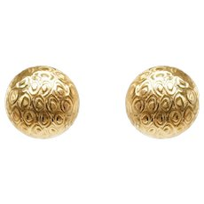 14k Yellow Gold Textured Domed Clip Earrings