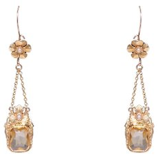 Antique 14k Yellow Gold Citrine And Seed Pearl Floral Earrings