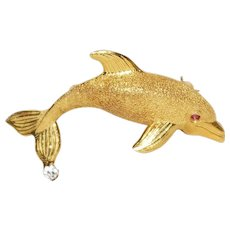 18k Yellow Gold Ruby And Diamond Dolphin Brooch