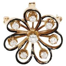 Antique 14k Yellow Gold Diamond And Enamel Floral Pin/Pendant
