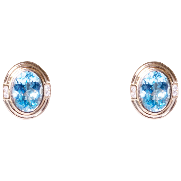 14k Yellow Gold Blue Topaz And Diamond Earrings