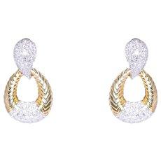 18k Yellow Gold Diamond Door Knocker Earrings