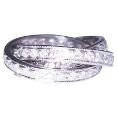 14k White Gold Diamond Rolling Bands