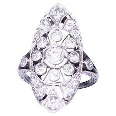 Edwardian Platinum Old European Cut Diamond Shield Shape Ring