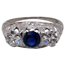 Art Deco Platinum Diamond and Sapphire Engagement Ring