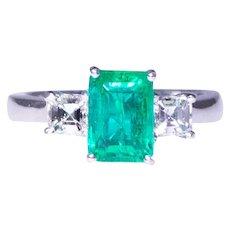 Platinum Three-Stone Emerald And Diamond Ring