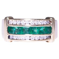 14k Yellow Gold Triple Row Emerald And Diamond Band