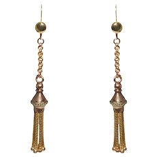 Antique 14k Yellow And Rose Gold Tassel Earrings