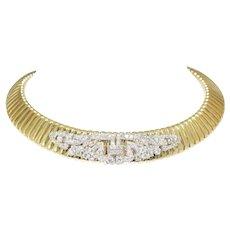18k Yellow Gold And Platinum Diamond Choker Necklace