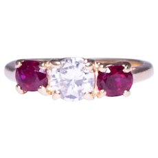 14k Yellow Gold Diamond And Ruby Engagement Ring