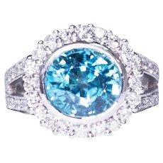 14k White Gold Zircon and Diamond Ring